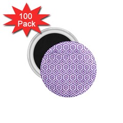 Hexagon1 White Marble & Purple Denim (r) 1 75  Magnets (100 Pack)  by trendistuff