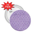 HEXAGON1 WHITE MARBLE & PURPLE DENIM (R) 2.25  Buttons (10 pack)  Front