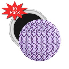 Hexagon1 White Marble & Purple Denim (r) 2 25  Magnets (10 Pack)  by trendistuff