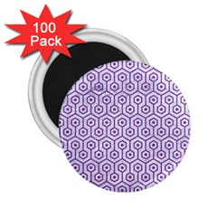Hexagon1 White Marble & Purple Denim (r) 2 25  Magnets (100 Pack)  by trendistuff