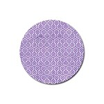HEXAGON1 WHITE MARBLE & PURPLE DENIM (R) Rubber Round Coaster (4 pack)  Front