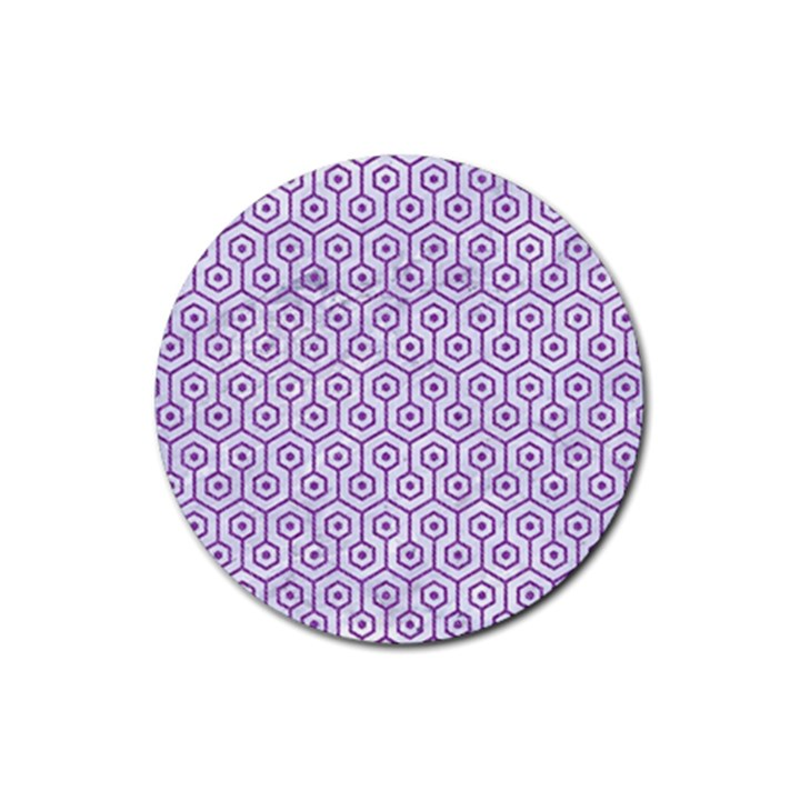 HEXAGON1 WHITE MARBLE & PURPLE DENIM (R) Rubber Round Coaster (4 pack)