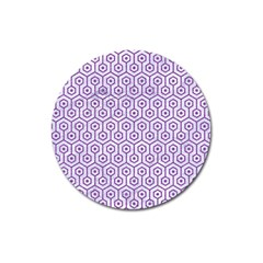 Hexagon1 White Marble & Purple Denim (r) Magnet 3  (round) by trendistuff