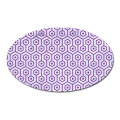 Hexagon1 White Marble & Purple Denim (r) Oval Magnet by trendistuff