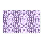 HEXAGON1 WHITE MARBLE & PURPLE DENIM (R) Magnet (Rectangular) Front