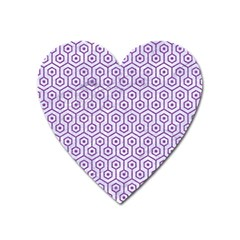 Hexagon1 White Marble & Purple Denim (r) Heart Magnet by trendistuff
