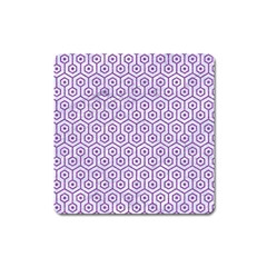 Hexagon1 White Marble & Purple Denim (r) Square Magnet by trendistuff