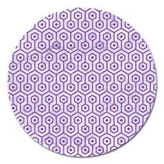 Hexagon1 White Marble & Purple Denim (r) Magnet 5  (round) by trendistuff