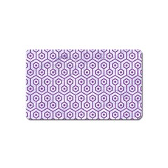 Hexagon1 White Marble & Purple Denim (r) Magnet (name Card) by trendistuff