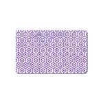 HEXAGON1 WHITE MARBLE & PURPLE DENIM (R) Magnet (Name Card) Front