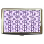 HEXAGON1 WHITE MARBLE & PURPLE DENIM (R) Cigarette Money Cases Front