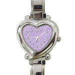 HEXAGON1 WHITE MARBLE & PURPLE DENIM (R) Heart Italian Charm Watch Front
