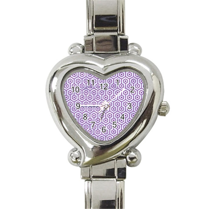 HEXAGON1 WHITE MARBLE & PURPLE DENIM (R) Heart Italian Charm Watch