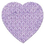 HEXAGON1 WHITE MARBLE & PURPLE DENIM (R) Jigsaw Puzzle (Heart) Front