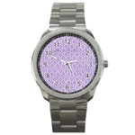 HEXAGON1 WHITE MARBLE & PURPLE DENIM (R) Sport Metal Watch Front