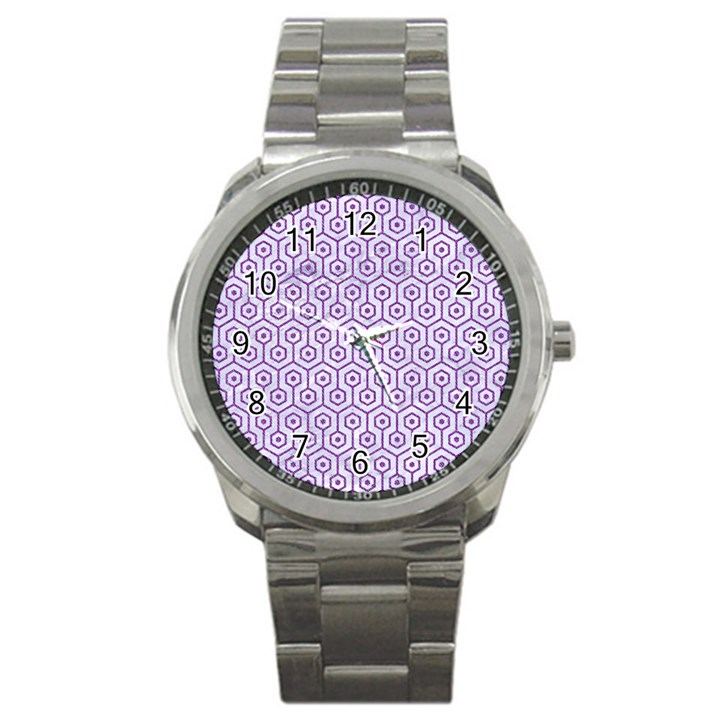 HEXAGON1 WHITE MARBLE & PURPLE DENIM (R) Sport Metal Watch