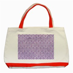 Hexagon1 White Marble & Purple Denim (r) Classic Tote Bag (red) by trendistuff