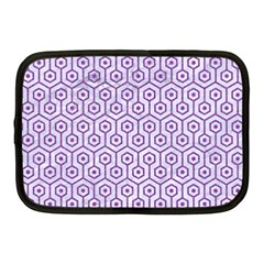 Hexagon1 White Marble & Purple Denim (r) Netbook Case (medium)  by trendistuff