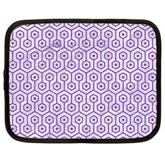 Hexagon1 White Marble & Purple Denim (r) Netbook Case (large)