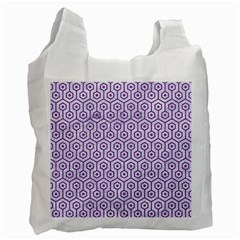 Hexagon1 White Marble & Purple Denim (r) Recycle Bag (one Side)