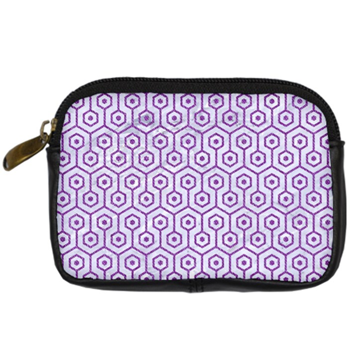 HEXAGON1 WHITE MARBLE & PURPLE DENIM (R) Digital Camera Cases