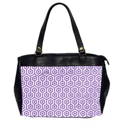 Hexagon1 White Marble & Purple Denim (r) Office Handbags (2 Sides)  by trendistuff