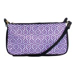 HEXAGON1 WHITE MARBLE & PURPLE DENIM (R) Shoulder Clutch Bags Front