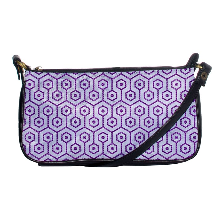 HEXAGON1 WHITE MARBLE & PURPLE DENIM (R) Shoulder Clutch Bags