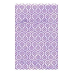 Hexagon1 White Marble & Purple Denim (r) Shower Curtain 48  X 72  (small)  by trendistuff
