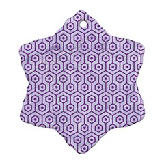 Hexagon1 White Marble & Purple Denim (r) Snowflake Ornament (two Sides)