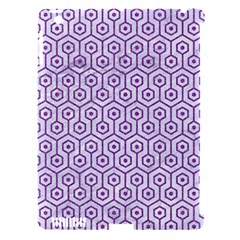 Hexagon1 White Marble & Purple Denim (r) Apple Ipad 3/4 Hardshell Case (compatible With Smart Cover) by trendistuff
