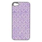 HEXAGON1 WHITE MARBLE & PURPLE DENIM (R) Apple iPhone 5 Case (Silver) Front