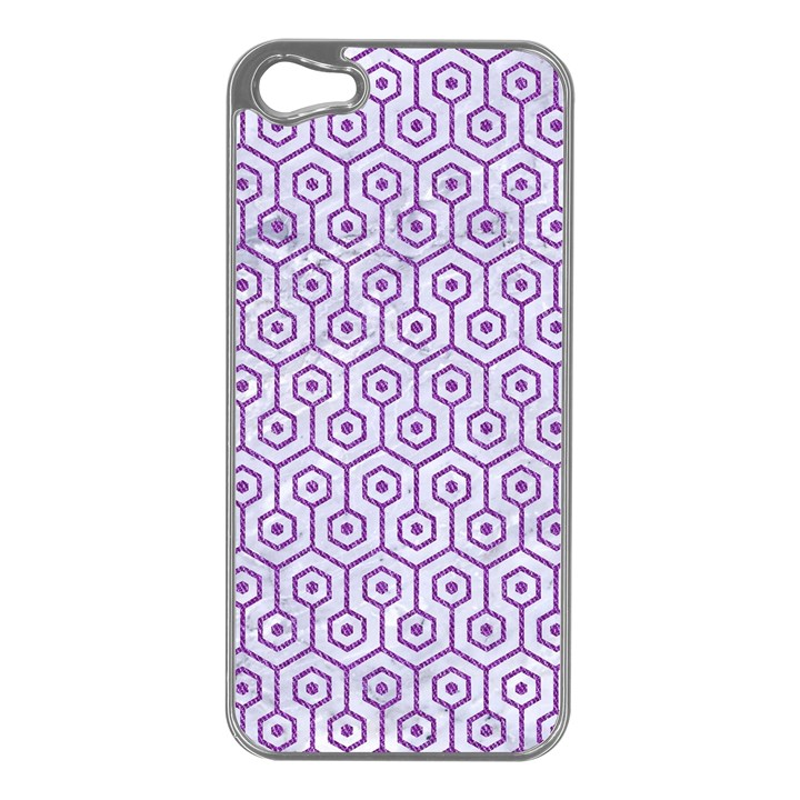 HEXAGON1 WHITE MARBLE & PURPLE DENIM (R) Apple iPhone 5 Case (Silver)