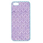 HEXAGON1 WHITE MARBLE & PURPLE DENIM (R) Apple Seamless iPhone 5 Case (Color) Front
