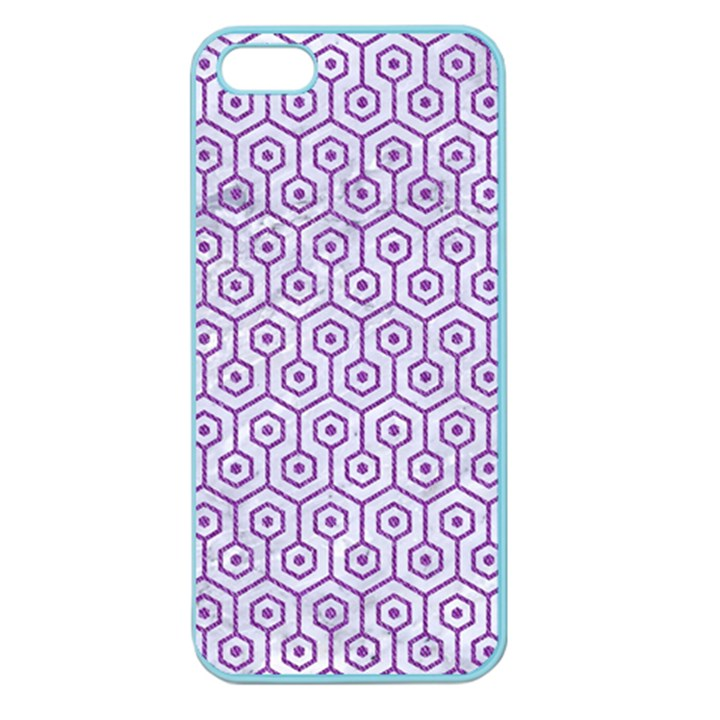 HEXAGON1 WHITE MARBLE & PURPLE DENIM (R) Apple Seamless iPhone 5 Case (Color)