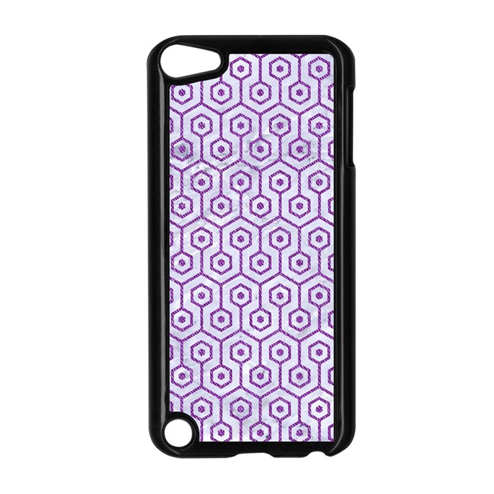 HEXAGON1 WHITE MARBLE & PURPLE DENIM (R) Apple iPod Touch 5 Case (Black)