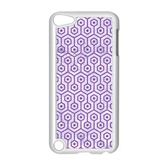 Hexagon1 White Marble & Purple Denim (r) Apple Ipod Touch 5 Case (white) by trendistuff
