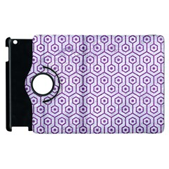 Hexagon1 White Marble & Purple Denim (r) Apple Ipad 2 Flip 360 Case by trendistuff