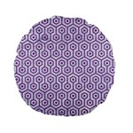 HEXAGON1 WHITE MARBLE & PURPLE DENIM (R) Standard 15  Premium Round Cushions Front