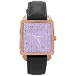 HEXAGON1 WHITE MARBLE & PURPLE DENIM (R) Rose Gold Leather Watch  Front