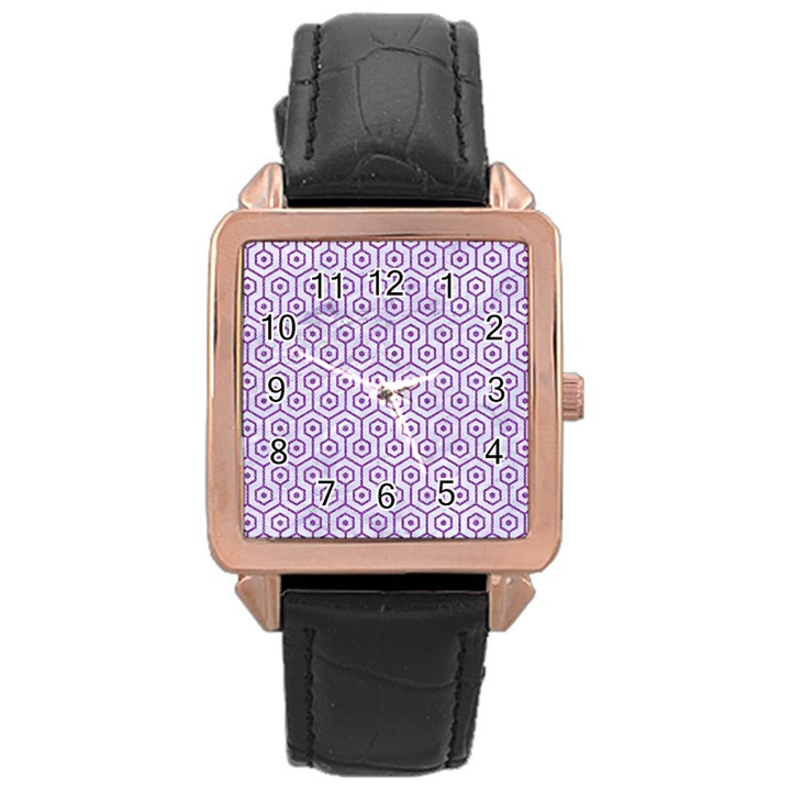 HEXAGON1 WHITE MARBLE & PURPLE DENIM (R) Rose Gold Leather Watch
