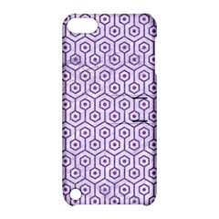 Hexagon1 White Marble & Purple Denim (r) Apple Ipod Touch 5 Hardshell Case With Stand by trendistuff