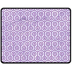 Hexagon1 White Marble & Purple Denim (r) Double Sided Fleece Blanket (medium)