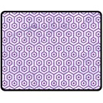 HEXAGON1 WHITE MARBLE & PURPLE DENIM (R) Double Sided Fleece Blanket (Medium)  58.8 x47.4 Blanket Back