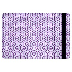 Hexagon1 White Marble & Purple Denim (r) Ipad Air Flip by trendistuff