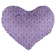 Hexagon1 White Marble & Purple Denim (r) Large 19  Premium Flano Heart Shape Cushions