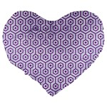 HEXAGON1 WHITE MARBLE & PURPLE DENIM (R) Large 19  Premium Flano Heart Shape Cushions Back