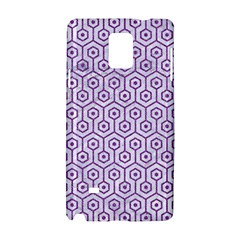 Hexagon1 White Marble & Purple Denim (r) Samsung Galaxy Note 4 Hardshell Case by trendistuff