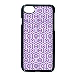 HEXAGON1 WHITE MARBLE & PURPLE DENIM (R) Apple iPhone 7 Seamless Case (Black) Front