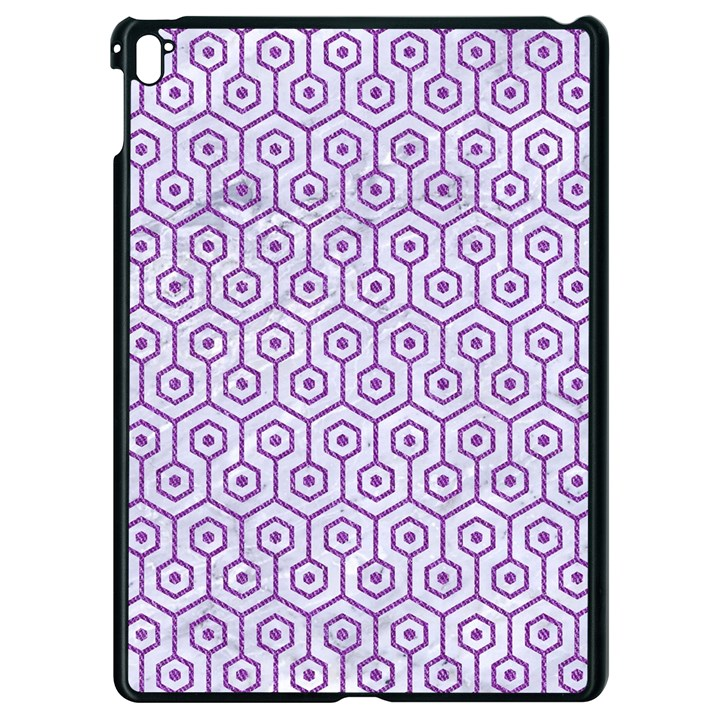 HEXAGON1 WHITE MARBLE & PURPLE DENIM (R) Apple iPad Pro 9.7   Black Seamless Case